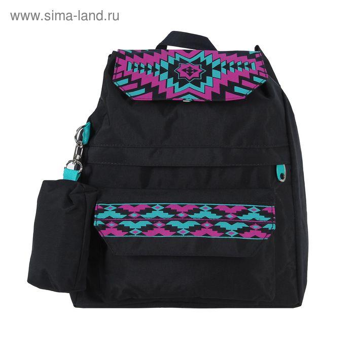 """Рюкзак молодёжный на стяжке шнурком """"Лиза"""", 1 отдел, 2 наружных кармана, чёрный"""