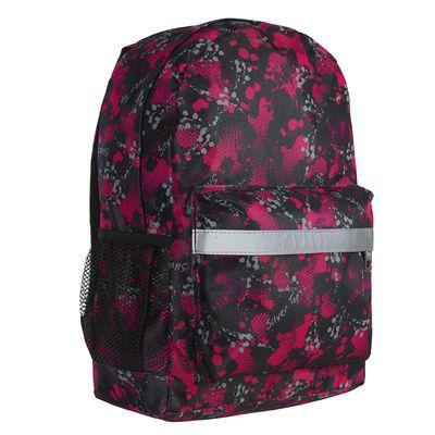 """Рюкзак молодёжный на молнии """"Баста"""", 1 отдел, 3 наружных кармана, чёрный/фуксия"""