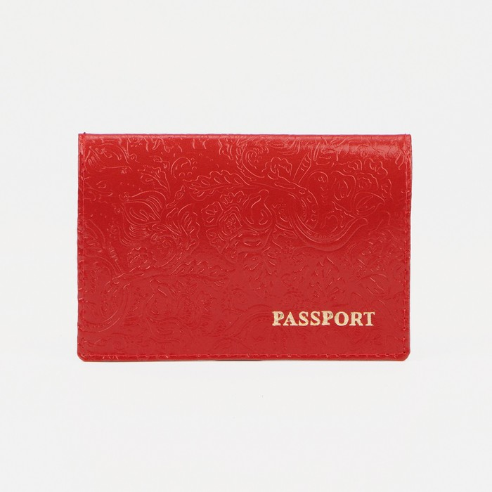 Обложка для паспорта «Пионы», тиснение, глянцевый, шик, цвет алый