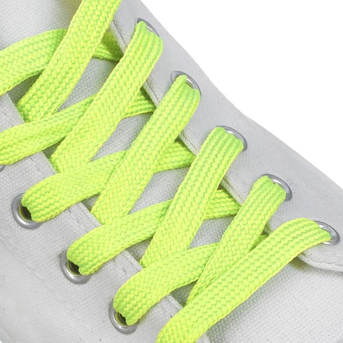 Шнурки для обуви плоские, ширина 7мм, 120см, цвет неон зеленый