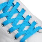 Laces for shoes, 7 mm, 120 cm, pair, blue color neon