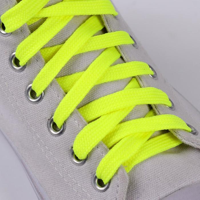 Шнурки для обуви, пара, плоские, 9 мм, 120 см, цвет жёлтый неоновый
