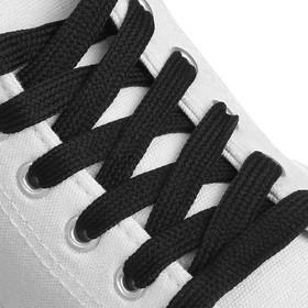 Шнурки для обуви, пара, плоские, 8 мм, 120 см, цвет чёрный