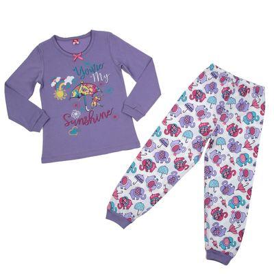 Пижама для девочки, рост 116 см (60), цвет сиреневый, принт зонтики