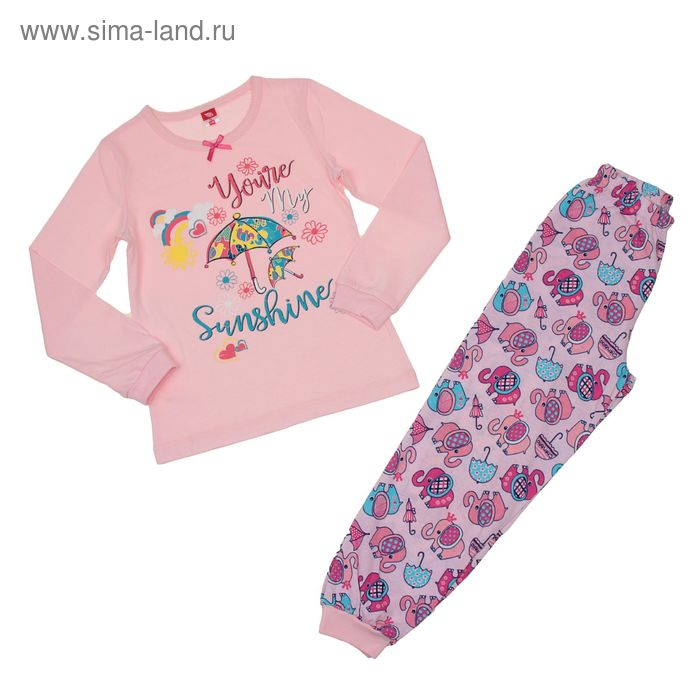 Пижама для девочки, рост 116 см (60), цвет розовый, принт зонтики CAK 5247_Д