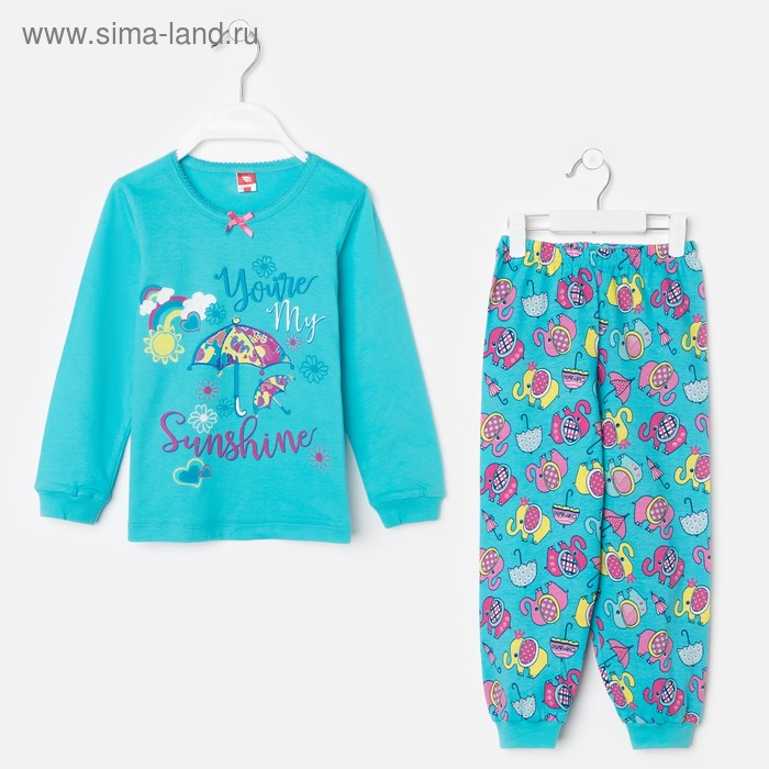 Пижама для девочки, рост 110 см (60), цвет бирюзовый, принт слоники CAK 5247_Д