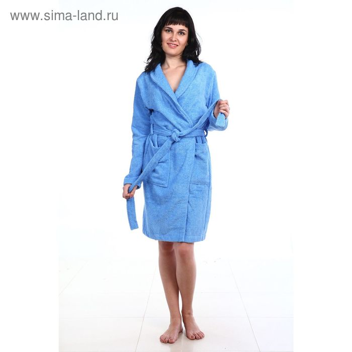 Халат махровый бамбук, размер 50, цвет голубой ХМБ0104