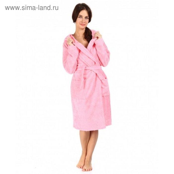 Халат махровый с капюшоном, размер 46, цвет розовый ХМБ0205