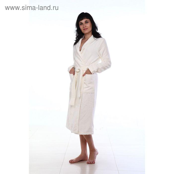Халат махровый удлиненный, размер 52, цвет белый ХМХ0301