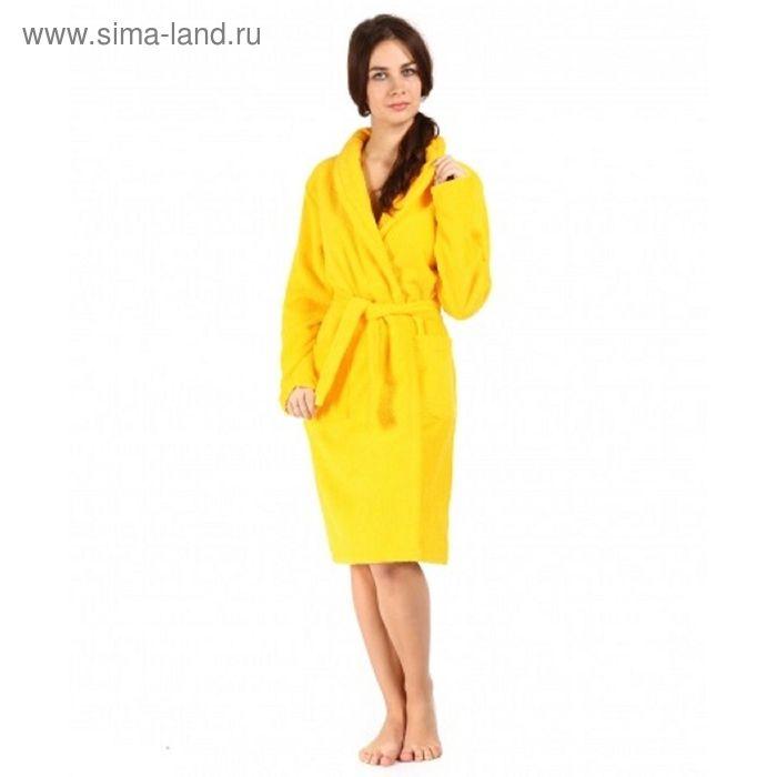 Халат махровый с запахом, размер 44, цвет жёлтый ХМХ0112