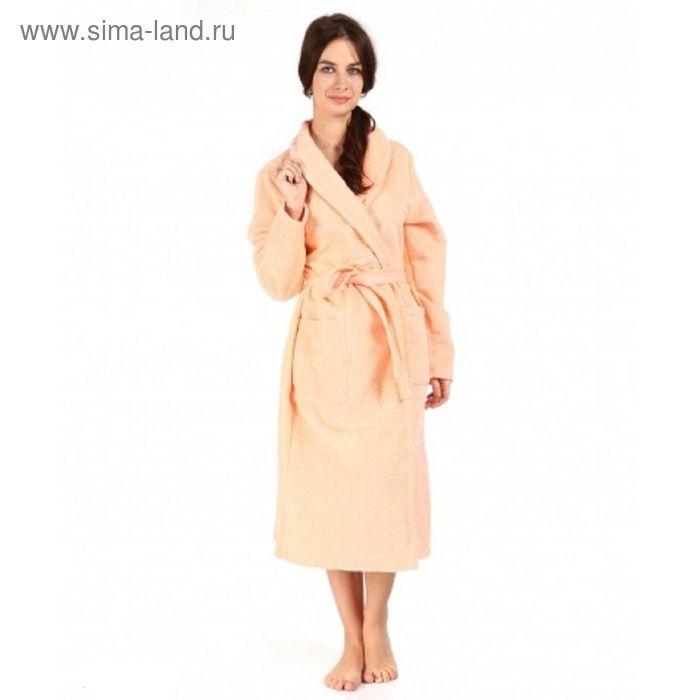 Халат махровый удлиненный, размер 46, цвет персиковый ХМХ0307