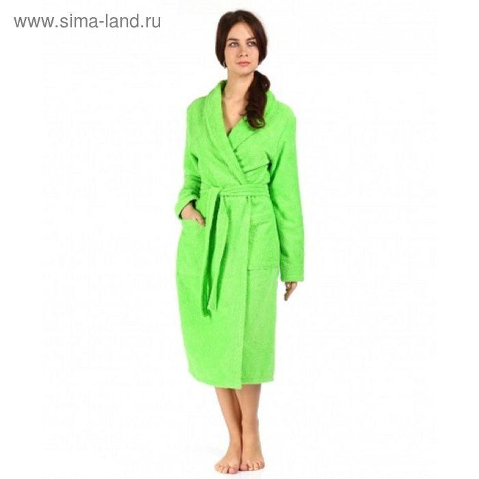 Халат махровый удлиненный, размер 44, цвет зелёный ХМХ0316