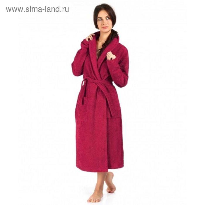 Халат махровый удлиненный, размер 46, цвет бордо ХМХ0322