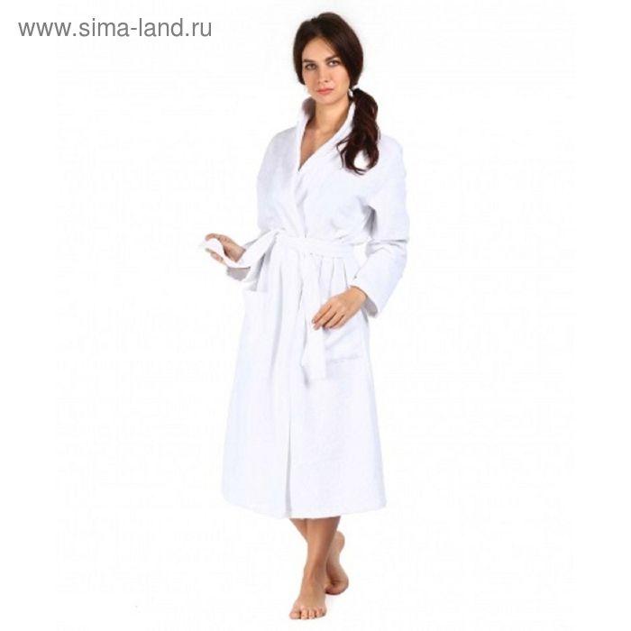 Халат махровый удлиненный, размер 52, цвет белый ХМБ0301