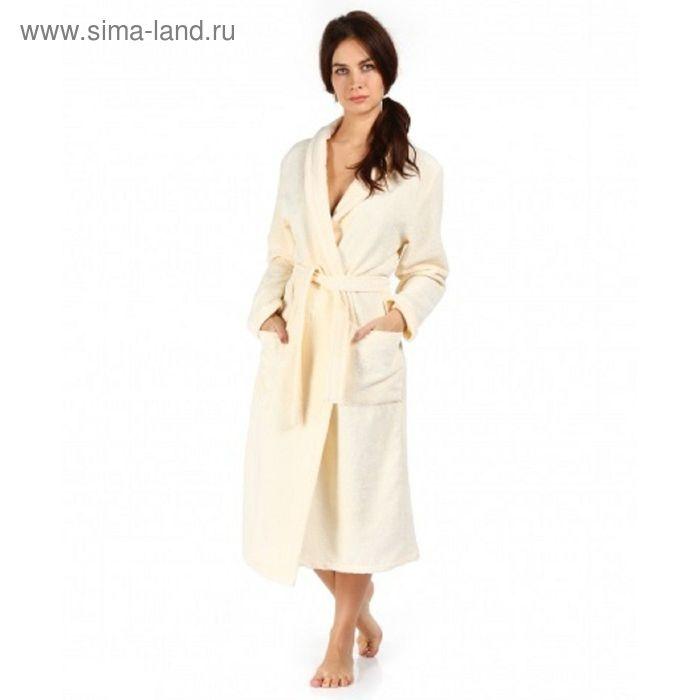 Халат махровый удлиненный, размер 52, цвет кремовый ХМБ0302