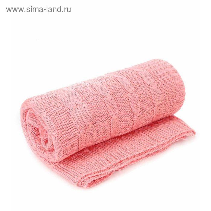 Плед вязаный, размер 140х180 см, цвет розовый 0114
