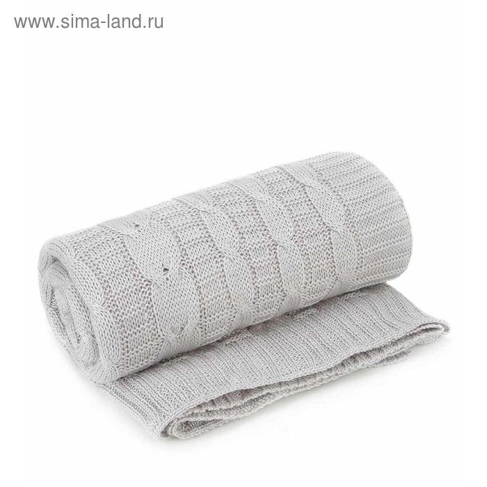 Плед вязаный, размер 140х180 см, цвет серый 0121