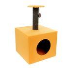 "Когтеточка ""Столбик"", куб с площадкой 35 х 35 х 60 см, микс"