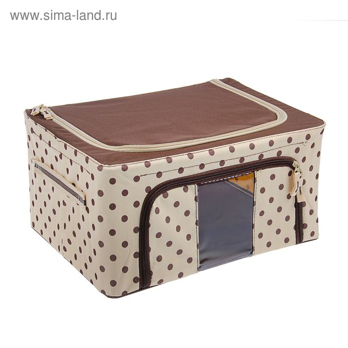 "Кофр для хранения вещей, 50х40х28 см ""Точки"", цвет коричневый"