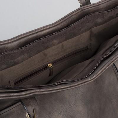 Сумка женская, отдел на молнии с перегородкой, 2 наружных кармана, цвет коричневый