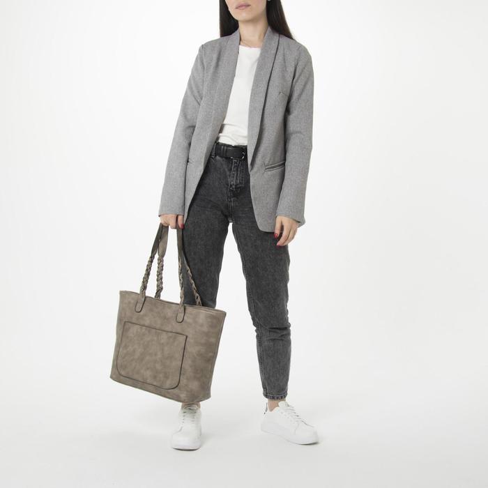 Сумка женская, отдел на молнии с перегородкой, 2 наружных кармана, цвет хаки