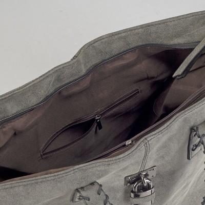 Сумка женская, отдел на молнии с перегородкой, цвет серый