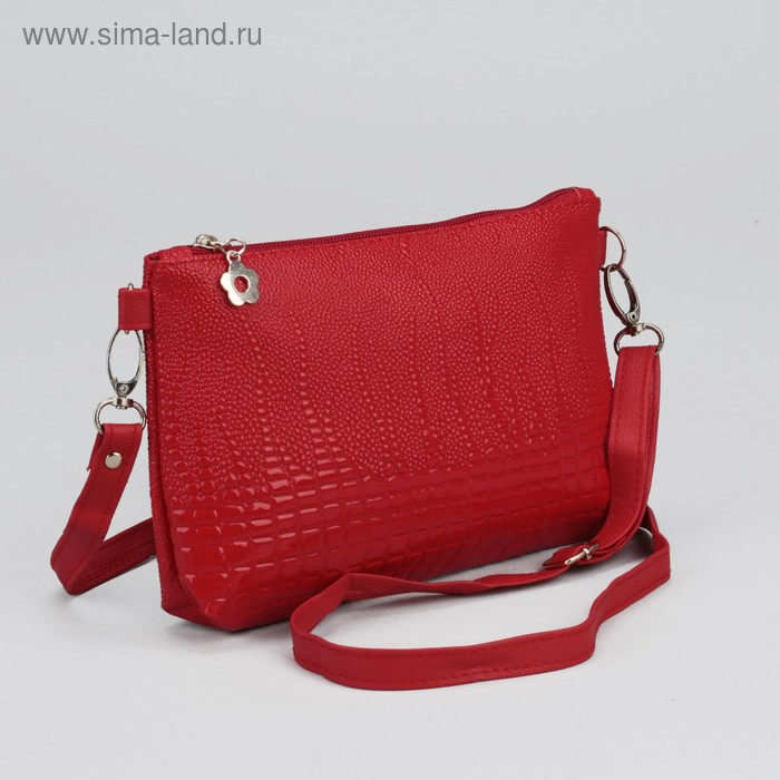 """Клатч женский на молнии """"Кейси"""", 1 отдел, 1 наружный карман, регулируемый ремень, красный"""
