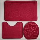 Набор ковриков для ванны и туалета Доляна, 3 шт: 36×43, 40×50, 50×80 см, цвет бордовый - фото 1662741