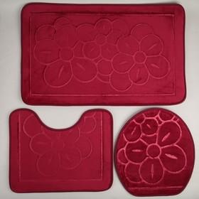 Набор ковриков для ванны и туалета, 3 шт: 36×43, 40×50, 50×80 см, цвет бордовый