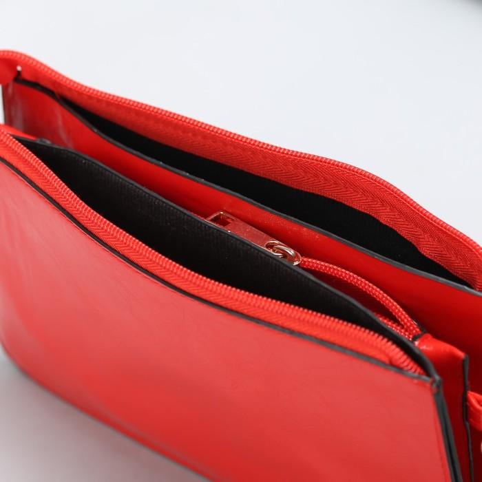 Клатч женский на молнии, 3 отдела, длинный ремень, цвет красный