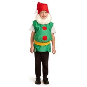 """Карнавальный костюм """"Гном"""", колпак, борода, безрукавка, набивной живот, пояс, 3-5 лет, рост 104-116 см"""