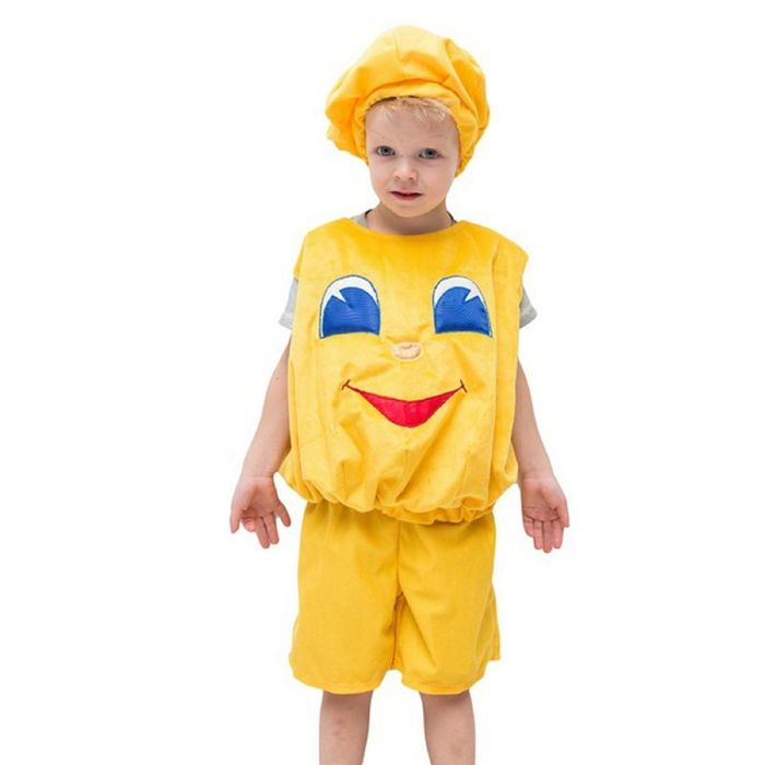 """Карнавальный костюм """"Колобок"""", шапка, жилет, шорты, 5-7 лет, рост 122-134 см"""