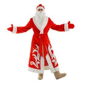 """Карнавальный костюм """"Дед Мороз"""", шуба, пояс, шапка, варежки, борода, р-р 52-54, рост 180 см"""