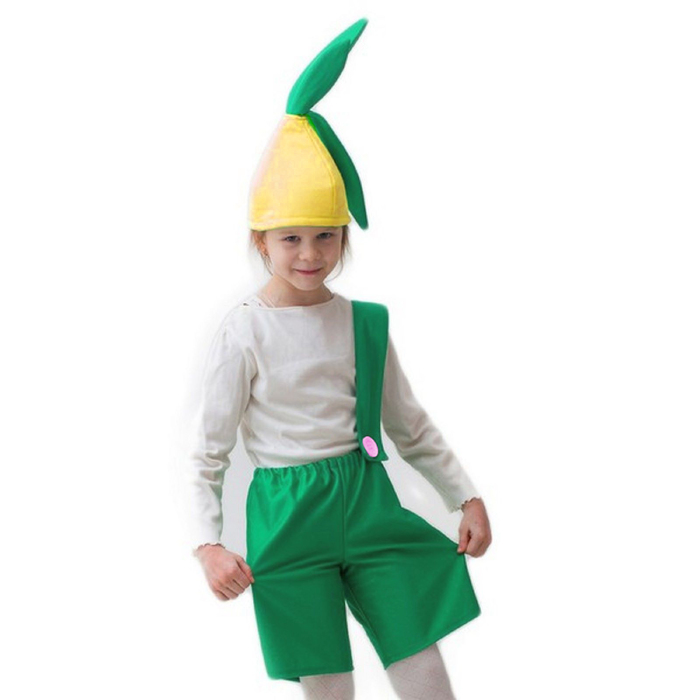 """Карнавальный костюм """"Лучок"""", шапка, комбинезон, 5-7 лет, рост 122-134 см - фото 455221"""
