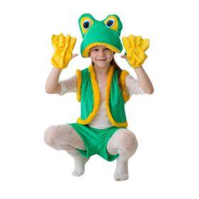 """Карнавальный костюм """"Лягушка-квакушка"""", шапка, жилет, шорты, перчатки, 3-5 лет, рост 104-116 см"""