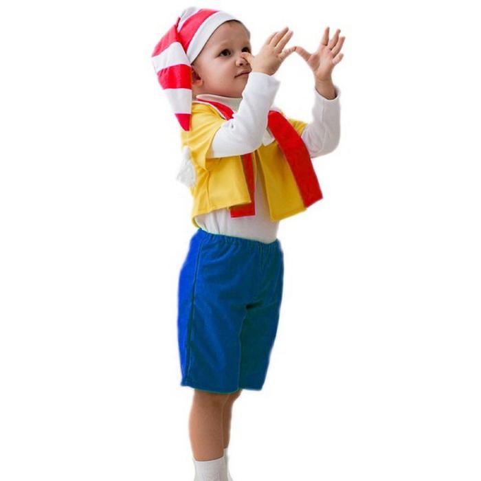 """Карнавальный костюм """"Буратино"""", 5-7 лет, колпак, курточка, шарфик, бриджи, рост 122-134 см"""