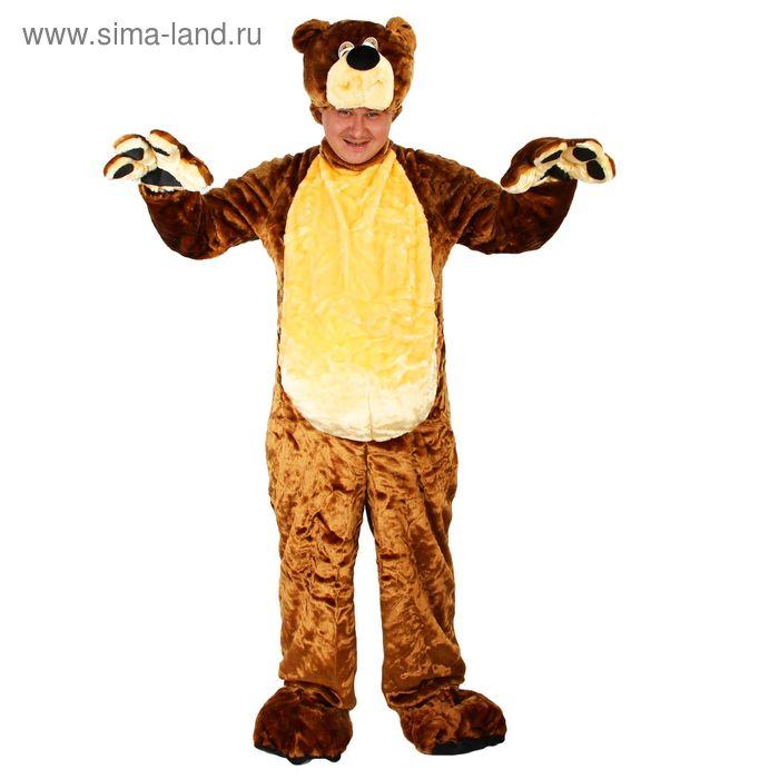 """Карнавальный костюм """"Бурый медведь"""", комбинезон, шапка, р-р 50-52, рост 180 см, цвета МИКС"""