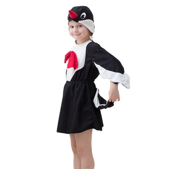 """Карнавальный костюм """"Сорока"""", шапка, кофта, юбка с хвостом, 3-5 лет, рост 104-116 см - фото 105520934"""