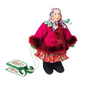 Сувенирная кукла 'Девочка в зимнем костюме с санками', МИКС Ош