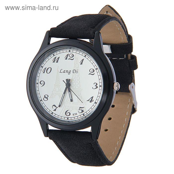 Часы наручные Lang Di, Эйфелева башня, ремешок иск замша черный