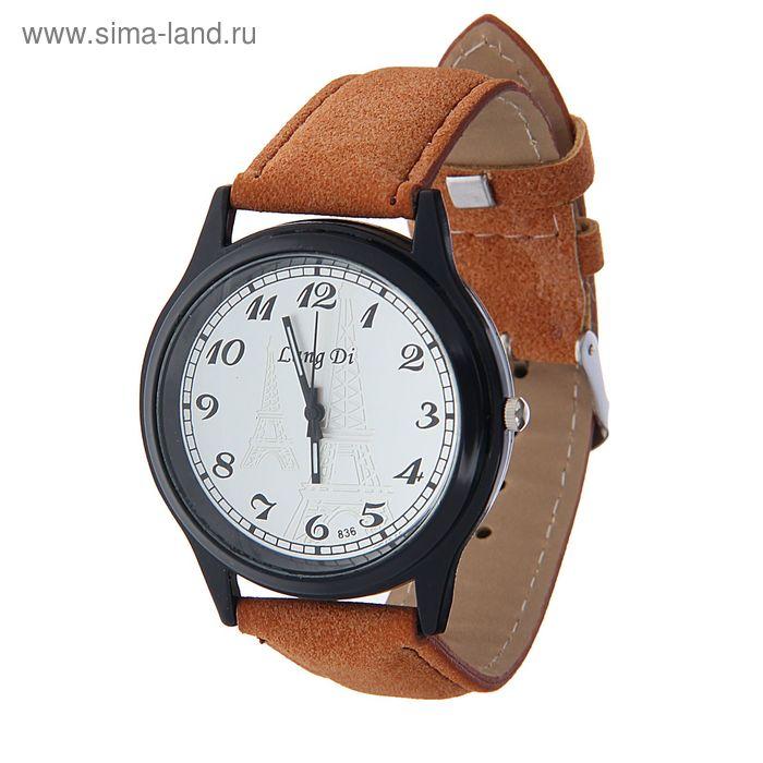 Часы наручные Lang Di, Эйфелева башня, ремешок иск замша св. корич