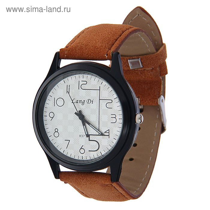 Часы наручные Lang Di,  большая цифра 5  ремешок иск замша св корич