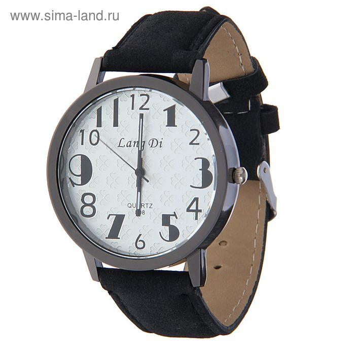 Часы наручные Lang Di,  утолщенные цифры  ремешок иск замша черный