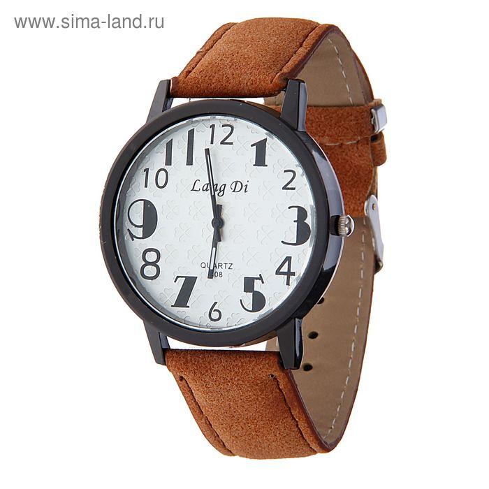 Часы наручные Lang Di,  утолщенные цифры  ремешок иск замша св-корич