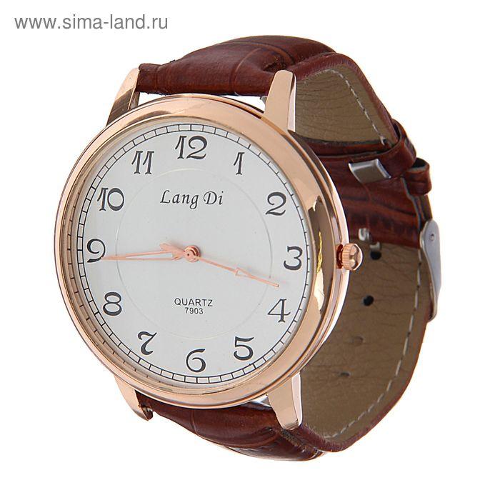 Часы наручные мужские Lang Di, все цифры, бел циферблат, ремешок с выделкой корич