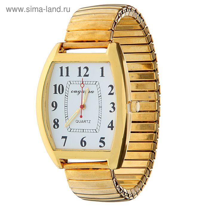 Часы наручные мужские вытянутой формы на браслете резинке желт корпус бел циферблат