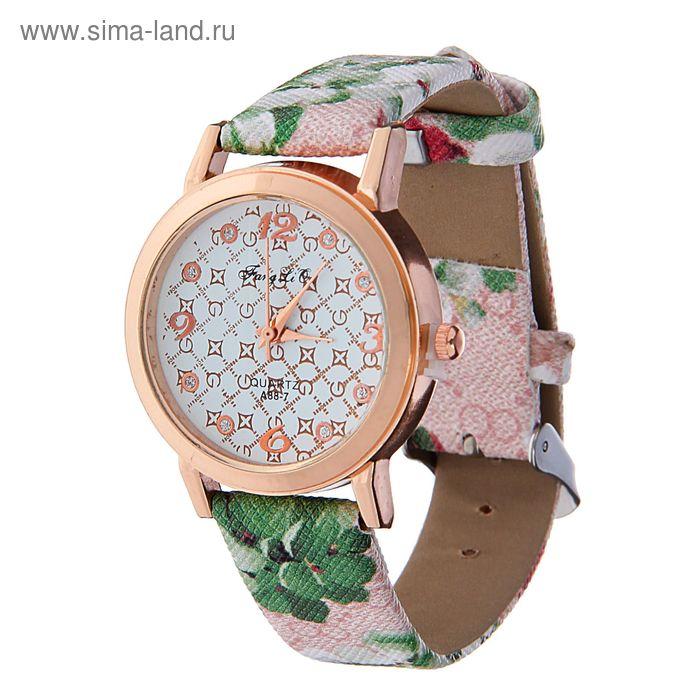 Часы наручные женские, накл 4 цифры, цветы на рем (кажд изд имеет оригин рис. микс)фон роз