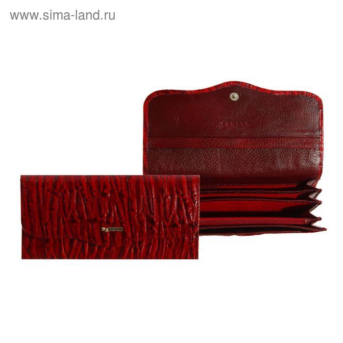 Кошелёк женский на клапане, 5 отделов, вкладыш для карт, 1 наружный карман, красный