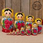 Матрёшка «Семёновская», жёлтый платок, 12 кукольная, высшая категория