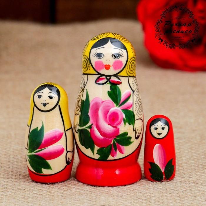 Матрёшка «Семёновская», 3 кукольная, 7 см, высшая категория